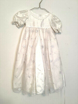 Vintage Baby Christening Baptism Gown Embroidered Floral Overlay Multilayers (Embroidered Floral Christening Gown)