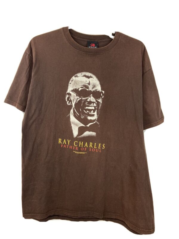 """RAY CHARLES 2005 """"FATHER OF SOUL"""" Zion Rootswear  T-Shirt Brown Size XXL"""