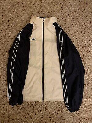 Men Vintage Kappa Track Jacket Navy White Medium With Hidden Hood