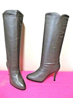 NINE WEST Q-Joselyn Pull-On Grayish Brown Tall Leather Slouch Boots, 3