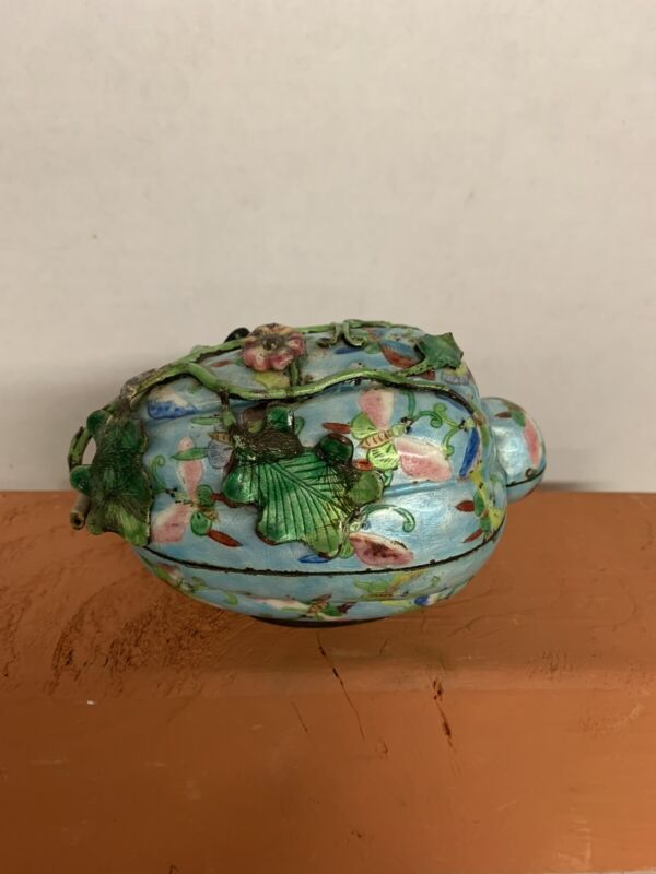 Antique OLD CHINESE FRUIT DESIGN CLOISONNE Butterfly TURQUOISE ENAMEL BOWL BOX