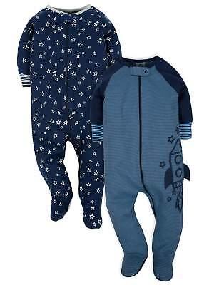 Gerber Baby Boys 2 Pack Organic Cotton Sleep N Plays Various Sizes Rocket, Stars