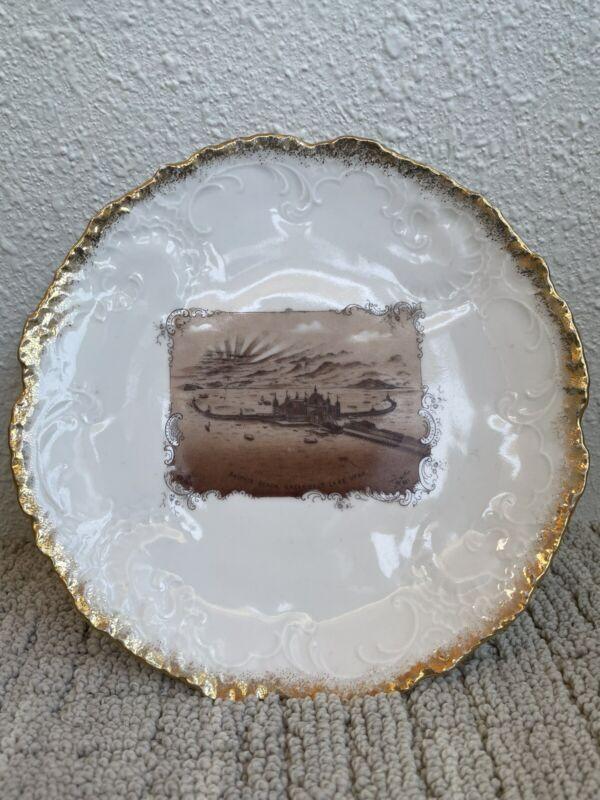 Antique Saltair Beach Great Salt Lake, Utah Imperial HS Austria Souvenir Plate