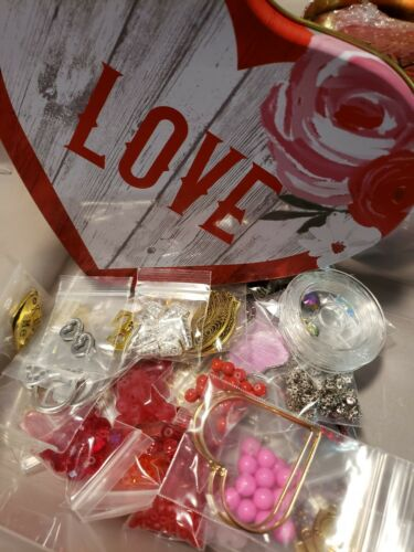 Valentine LOVE LOTS 55+ BAGS Jewelry Making Beads Charms Pendants  BONUSES