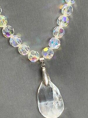 Vintage Aurora Borealis Nice Crystal Glass Stop Pendant Wedding Necklace  -