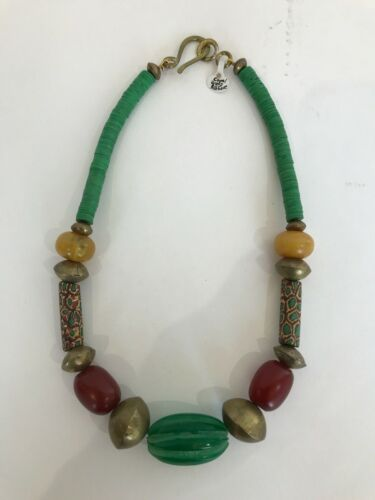 Vintage Brass African Trade Bead Necklace
