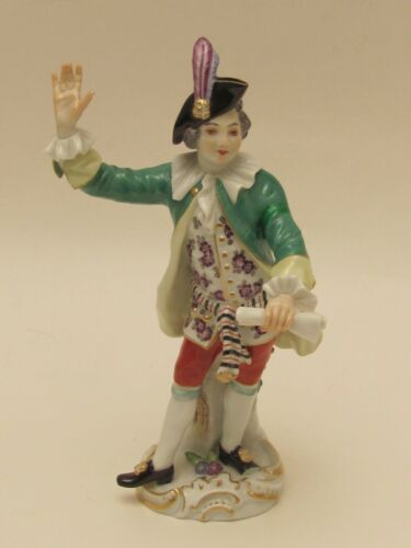 Excellent Antique Hand Painted Male Meissen Figurine Crossed Swords Mold # 60034