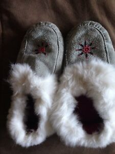 Moccasins and Slippers, leather and fur, slippers New
