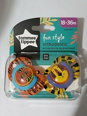 18-36 Mos Tommee Tippee Closer to Nature Style Orthodontic Toddler Pacifiers.