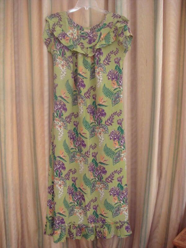 SILKY  HAWAIIAN VINTAGE ANTIQUE DRESS 40