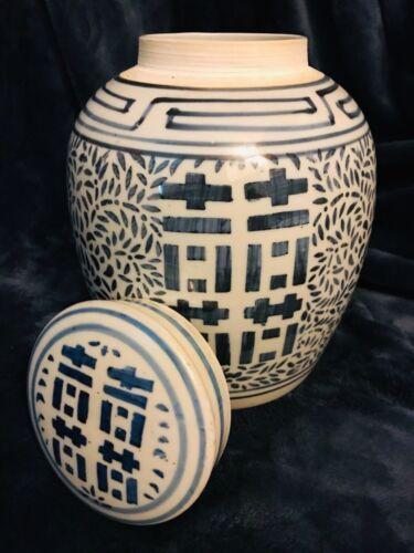 """Chinese Vintage Porcelain Blue & White Ginger Jar Urn Pot Tea Caddy 9.75"""""""
