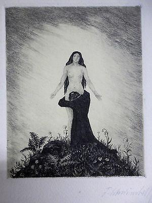"""Fritz Schwimbeck - Original Radierung """"Madonnen"""" """" signiert, um 1920."""