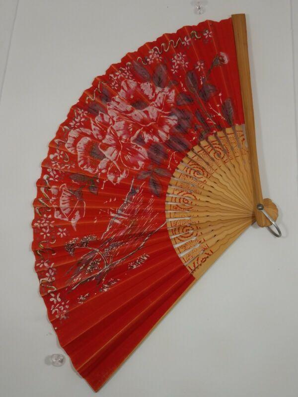 Japan VTG Folding Red Sensu Fan - Hand Painted Paper:Floral+Distant Water Scene