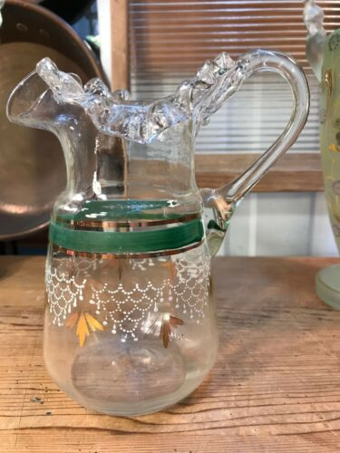 Antique Victorian 19th Century English Hand Made & Decorated Glass Jug