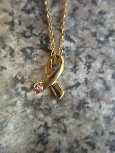 Gold Pink Ribbon Necklace ***BRAND NEW*** Campbell North Canberra Preview