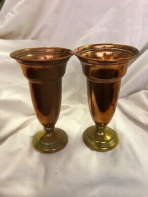 Pair Copper And Brass Flute Vases 19 Cm