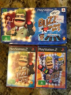 PlayStation buzz controllers and 2 games