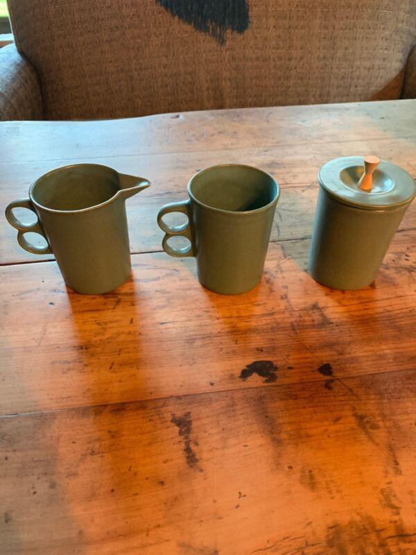 Vtg David Gil Bennington Potters Coffee Mug, Sugar And Creamer Set 1960s