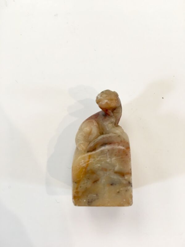 Carved Chinese Soapstone/Shoushan Stone Seal- Calligraphy Foo Lion