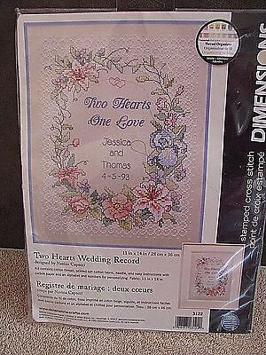 Two Hearts One Love Wedding Record STAMPED CROSS STITCH KIT by DIMENSIONS New