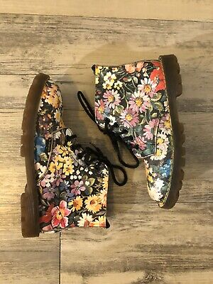 Kids Floral Doc Martens (Kids Dr. Doc Martens Air Wair SIZE 2 Floral Leather Lace up Made in)