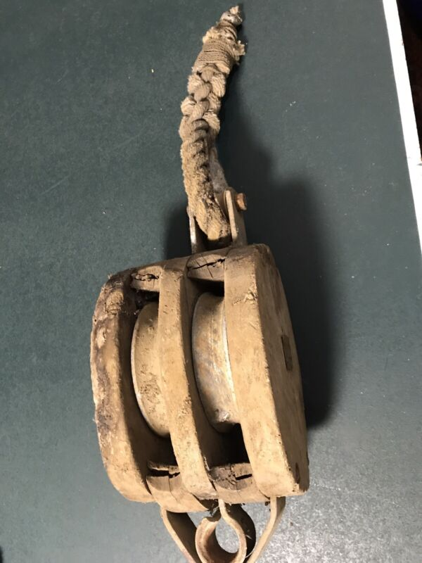 LARGE ANTIQUE WOOD/WOODEN SHIP/BOAT BLOCK & DOUBLE WHEEL TACKLE