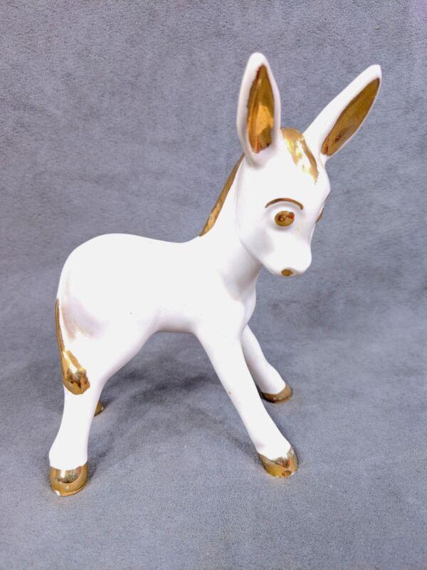 Vintage White Gold Painted Trim Porcelain Ceramic Donkey Figurine