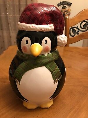 THE CELLAR Christmas Twilight Collection Penguin Cookie Jar by Laurie Gates 11