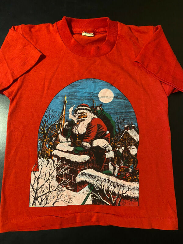 VTG 80s 1989 Youth Kids Santa Claus Christmas Chimney Screen Stars T-Shirt 6-8