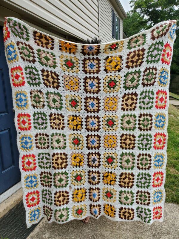 """VTG MCM Crochet Granny Square White & Multi-Color Afghan Throw Blanket 70"""" x 75"""""""