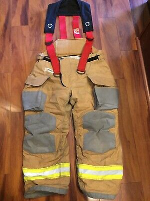 Firefighter Janesville Lion Apparel Turnout Bunker Pants 38x28 2007 W Suspenders