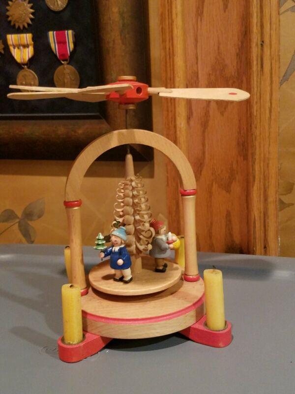 Vintage Erzgebirgische Volkskunst Christmas Celebration Candle Germany Windmill