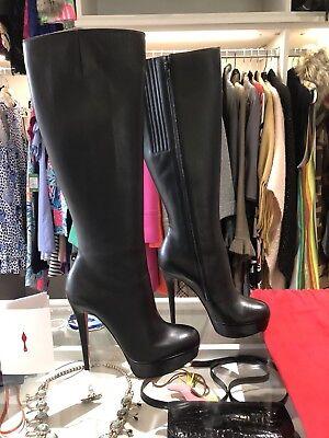 "Original Receipt*Louboutin Black Leather ""Bianca botta"" 140 Boots, 38"