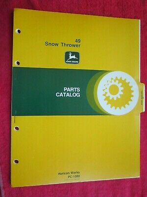 John Deere Lawn Garden Tractor 49 Snow Thrower Parts Catalog Manual Pc-1080
