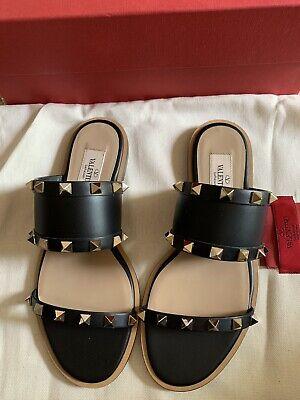 NIB Valentino Garavani Rockstud Leather Sandal Slides Size 35 Orig.695