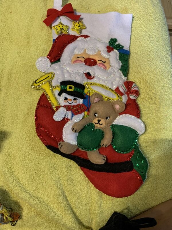 Hand Made Felt Christmas Stocking. Embellished With Beads And Sequins.