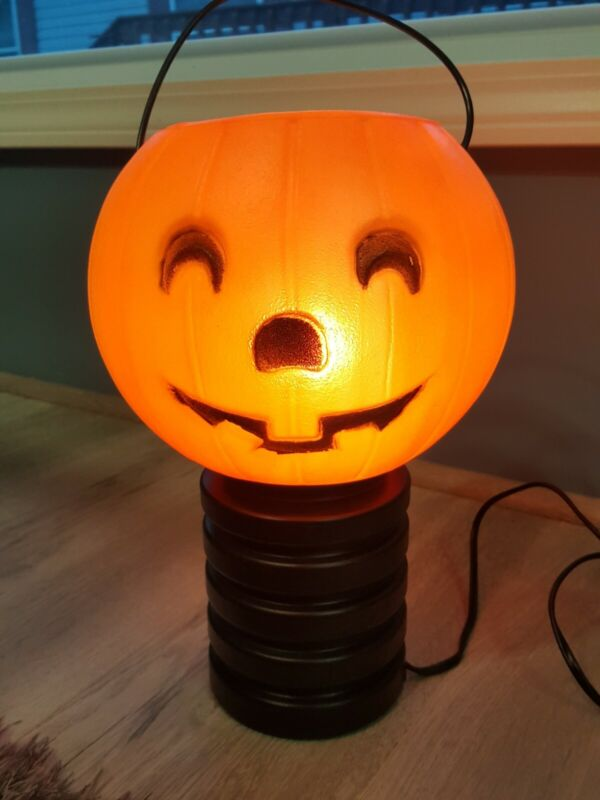 Vintage Halloween Blow Mold JOL PUMPKIN Blinky Products Made In USA Works