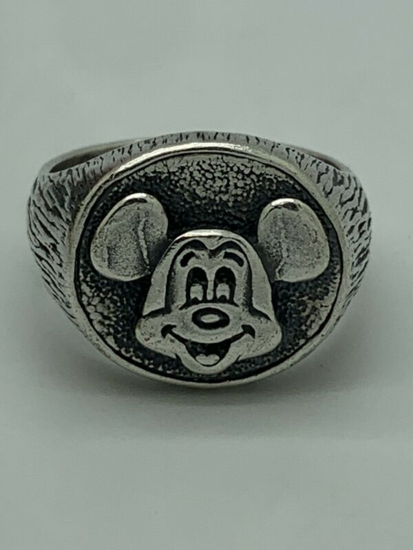 WALT DISNEY Mickey Mouse Sterling Silver Signet Style Ring Size 9.75 VINTAGE