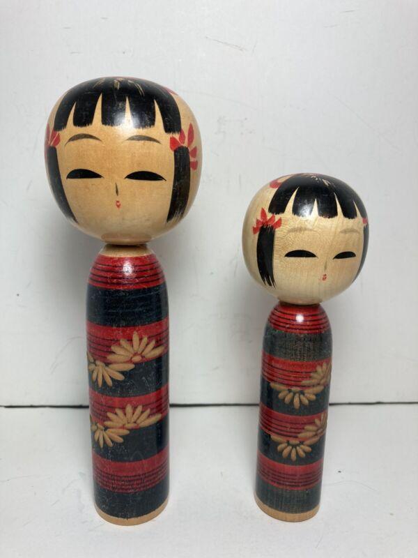 Set of 2 Vintage Hand Painted Kokeshi Wooden Dolls Signed