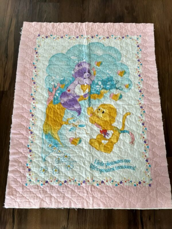 Vintage Care Bear Unfinished Baby Quilt 1985 BrightHeart Raccoon Braveheart Lion