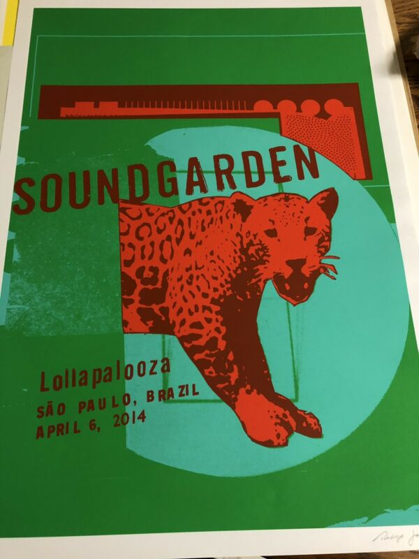 Soundgarden Lollapalooza Brazil Concert LithoNumber Signed By Artist Poster
