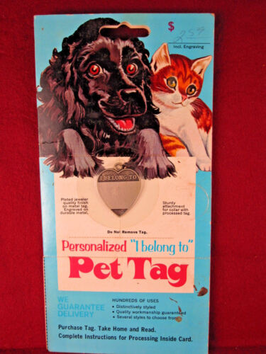 Vintage 60/70s Heart Shape blank Pet ID TAG Dog/Cat RaRe Display Advertising NOS