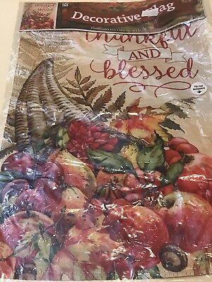 "Thankful & Blessed Fall Garden Flag Thanksgiving Glitter Cornucopia 13"" x 18"""