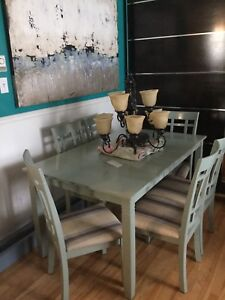 Nautical green large dining table with 6 chairs-