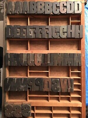 Antique Wood Letterpress Printing Press Type Block Letters Typeset Blocks 45 Pc