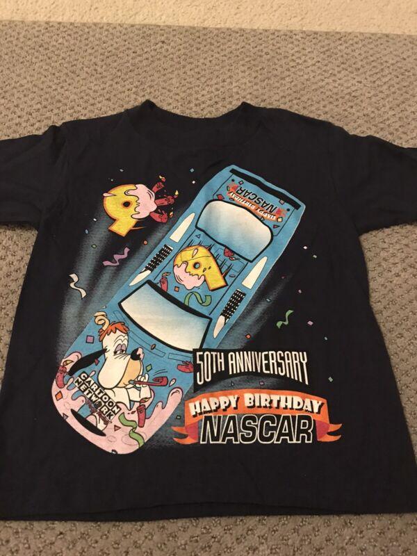Vintage 1997 Droopy Dog Happy Birthday NASCAR Kids T-shirt Cartoon Network NOS