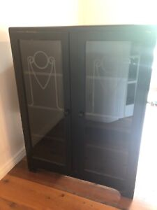 Stunning antique Art Deco gothic style cabinet black