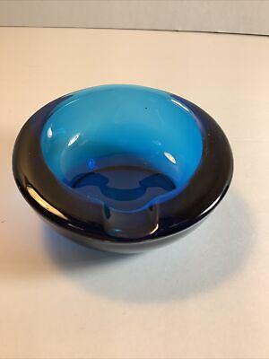 "Vintage Round 3.5""x 1.5"" Cobalt Blue Glass Retro Ashtray /Trinket Dish"