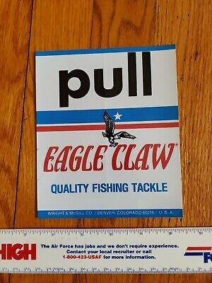 Scarce Vintage Eagle Claw Fishing Outdoor EQ Dealer's Door Label Sticker Decal