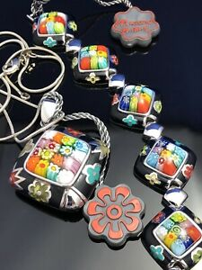 Black and Multi Coloured square Murano Set